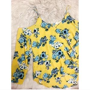Yellow Cold Shoulder Blouse Size Large